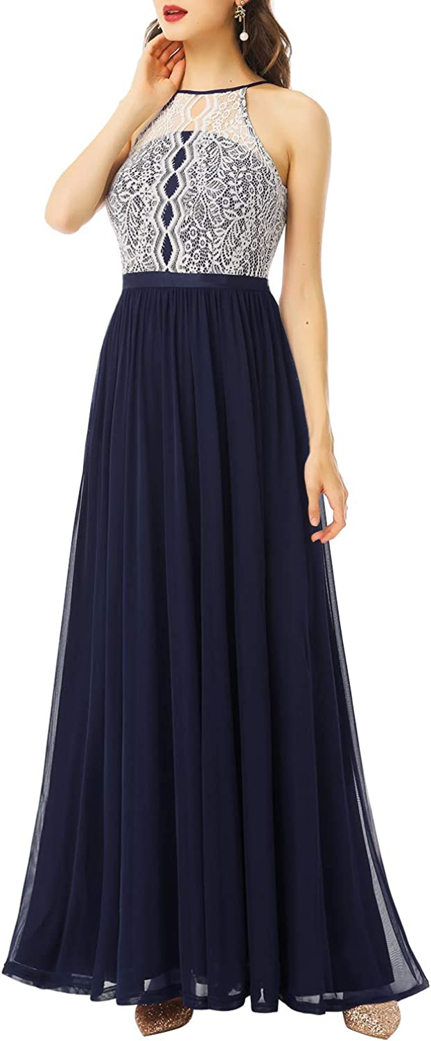 Dressystar We OFFer at cheap prices Women Halter Formal Dress Lace Br Chiffon Long Floral Max 48% OFF