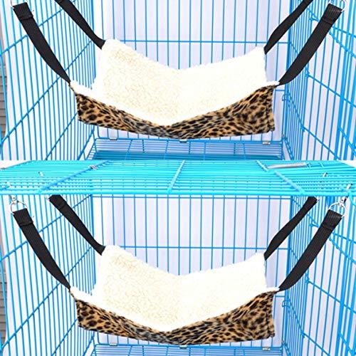 Rouku Lamm Samt gepolsterte Haustier Hängematte Leopardenmuster Katze Hängematten Bett Bequemes Haustier Hängebett Schlafen und Ausruhen Hängematten