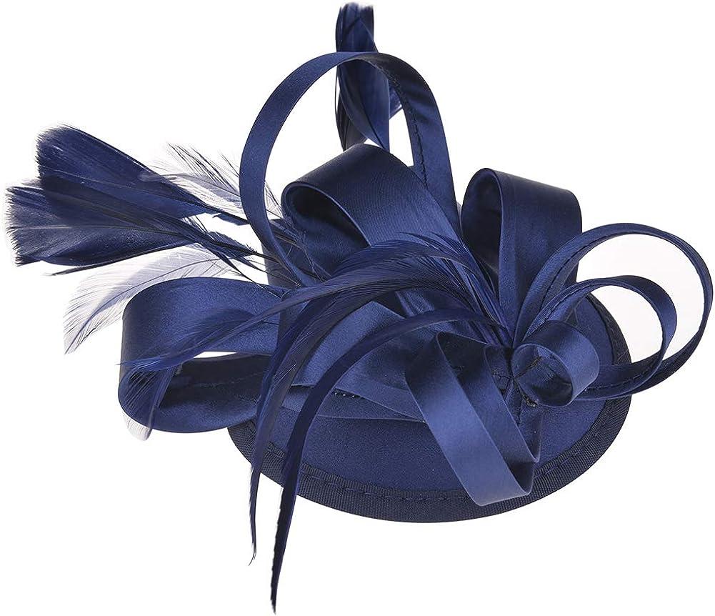 ChezAbbey Women's Feather Pillbox Hat Flower Derby Hat Fascinator Hair Clip Hat Wedding Cocktail Tea Party