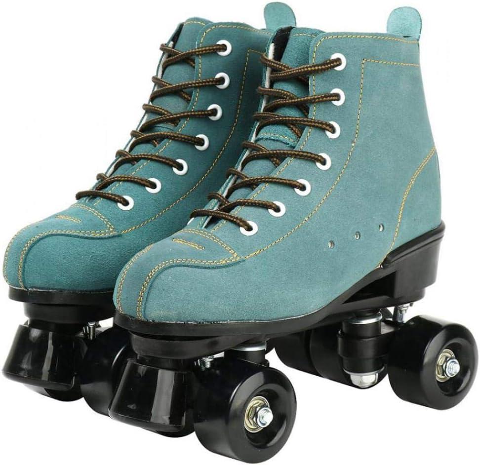 High-Top Shoes Double-Row Design Cowhide Roller Skates Classic Premium Roller Skates Four Wheels Roller Skates Shiny Roller Skates for Unisex