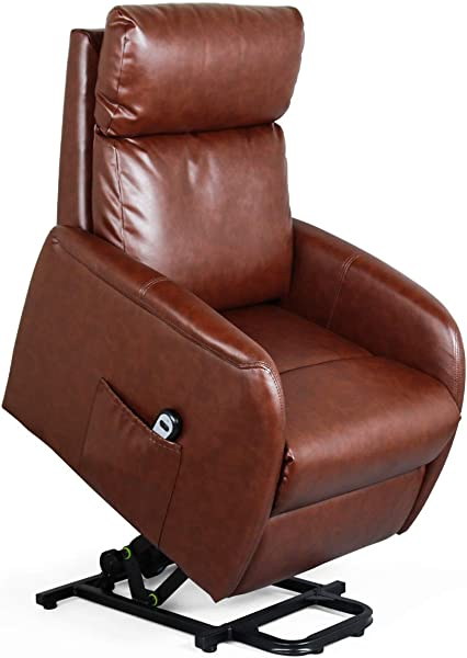 Recliner Chair Electric Lift Lounge With Remote Control Living Room Bedroom Office Reclining Sofa Chair PU Leather Seat With High Sponge With Side Pockets For Everyone Red Brown