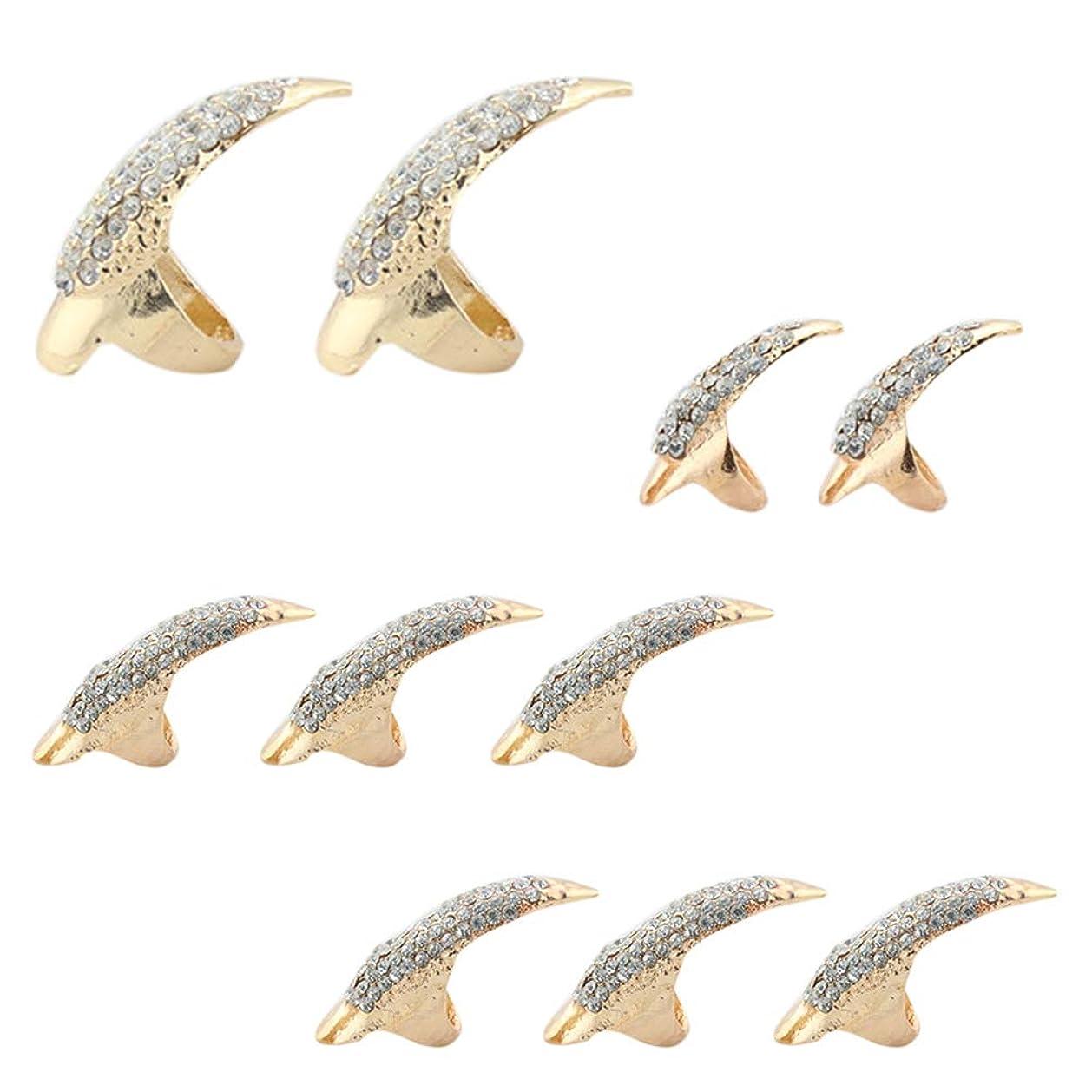 大使西神秘的なLURROSE 10本偽ネイルパンクスタイルタロン爪足指輪ナックルベンド指先指爪リング3サイズ(ブラック)