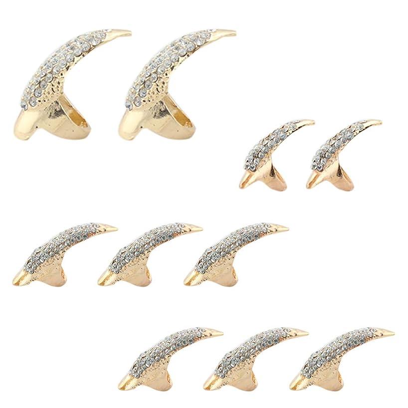 オーナメント印刷する免除LURROSE 10本偽ネイルパンクスタイルタロン爪足指輪ナックルベンド指先指爪リング3サイズ(ブラック)