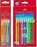 Faber-Castell, 110912, matite colorate Jumbo GRIP, in custodia di cartoncino da 12 pezzi, con temperino, in confezione con Faber-Castell, 110994,matite colorate Jumbo GRIP Neon, in custodia da 5pezzi, di alta qualità