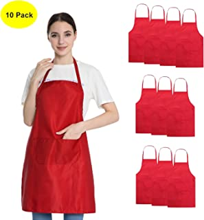 Hi loyaya Total 10 Pcs Plain Color Bib Apron with 2 Pockets Painting Event Party BBQ Cooking Kitchen Aprons for Women Men Adults (10, Red)