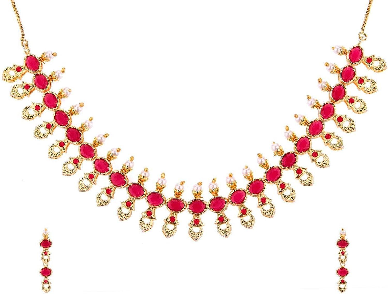Efulgenz Indian Bollywood Gold Plated Crystal Rhinestone Faux Pearl Wedding Bridal Choker Necklace Earring Jewellery Set