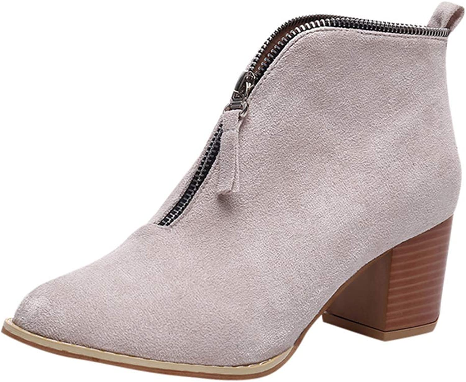Zarbrina Womens Low Chunky Heel Platform Ankle Boots Fashion Sexy Pointed Toe Rubber Sole Zipper Up Slip On Winter Warm Dressy shoes