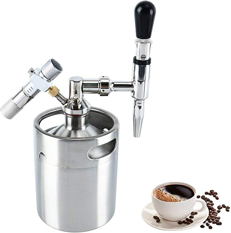 YaeBrew 64 Oz Mini Stainless Steel Homebrew Coffee Keg System Kit Nitro Cold Brew Coffee Maker 64 Ounce Best Gift For Coffee Lovers DIY