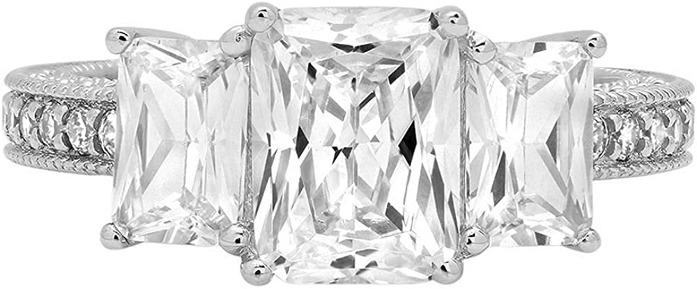 4.26 ct Emerald Cut Stunning Genuine Flawless Clear Simulated Diamond Wedding Bridal Anniversary Promise Engagement Solid 18K White Gold Classic Solitaire with Accents Three Stone Ring