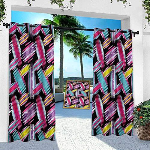 Aishare Store - Cortina para patio al aire libre, abstracta, geométrica, hippie, 95 pulgadas de largo, resistente panel interior para porche, balcón, pérgola, toldo para carpa (1 panel)