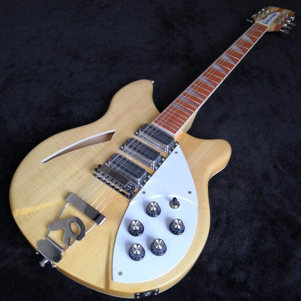 Guitarra 12 Cuerdas Guitarra Eléctrica Guitarra De Madera Pintura Aerosol De Color Caoba Diapasón Semi Hueco Guitarra Guitarra acustica Hyococ (Color : 6 String, Size : 39 Inches)
