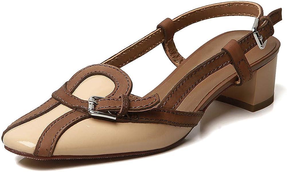 VIMISAOI Women's Superlatite Fresno Mall Genuine Leather Block Strappy Low Adjustab Heel