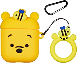 Logee Honey Winnie Case for Apple Airpods 1&2,Cute Character Silicone 3D Funny Cartoon Airpod Cover,Soft Kawaii Fun Cool Animal Skin Kits with Carabiner,Unique Cases for Girls Kids Women Air pods