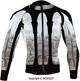 Cycling Jersey Long Sleeves Men,Hungarian Parliament on The Embankment of The Da