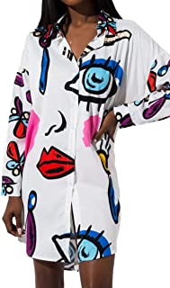 AKIRA Women's Abstract Eyes Lips Pattern Button Up Oversize Long Sleeve Shirt Dress