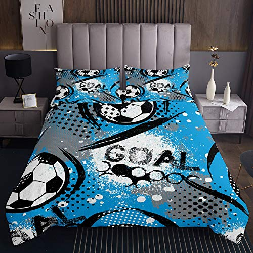 Tbrand Boys Football Coverlet Set Kids Sports Theme Bedspread Black White Blue Soccer Ball Pattern Quilted Coverlet for Children Competitive Games Quilted Room Decor Bedding Collection Single Size