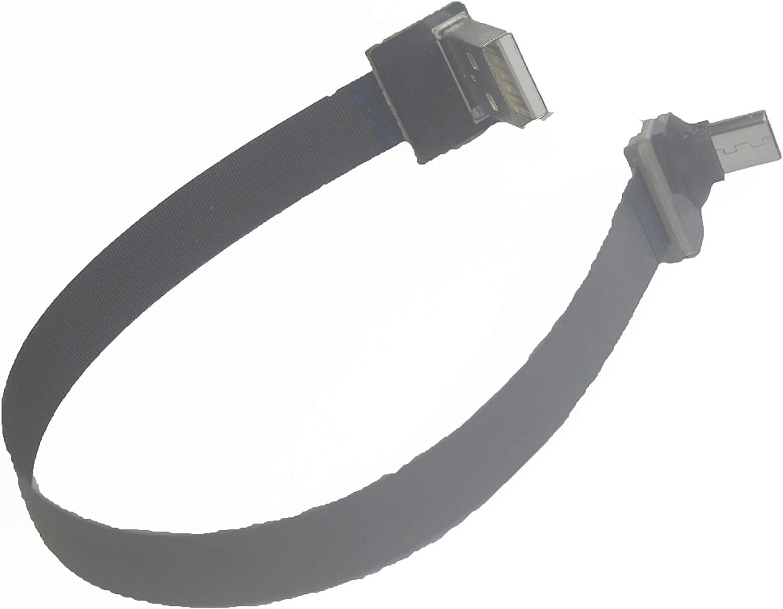 Soft Flat Slim Thin Ribbon Micro USB Male 90 Degree Angled to Standard USB A Male 90 Degree Angled for sync and Charging Black 10CM Micro USB 1 to Standard USB A UP