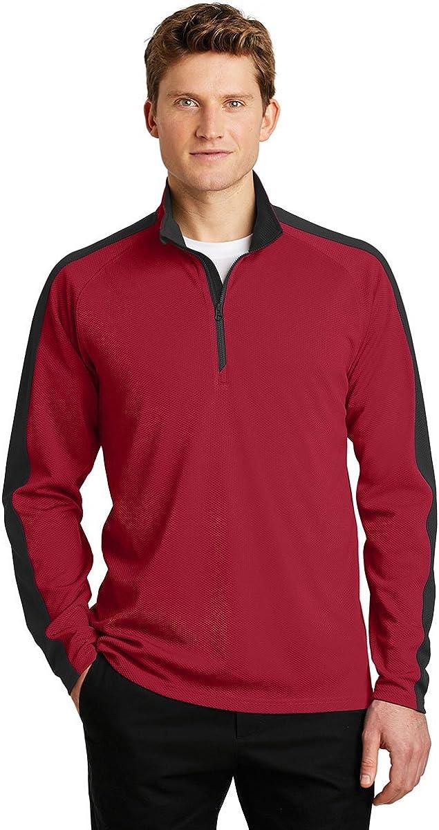Sport-Tek Sport-Wick Textured Colorblock 1/4-Zip Pullover-ST861-XS