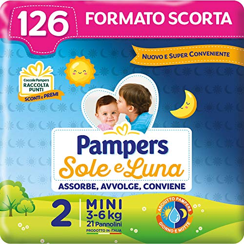 Pampers Sole e Luna Mini, 126 Pannolini, Taglia 2 (3-6 kg)