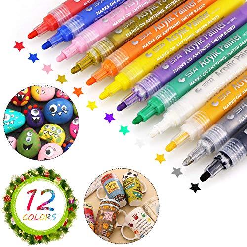 Acrylstifte für Steine, Acrylstifte, Sporgo 12 Farben Steine Bemalen Stifte Set, Wasserfeste Acrylstifte Marker, Acrylfarben Stifte für Steine, Glas, Holz, Leinwand, Fotoalbum