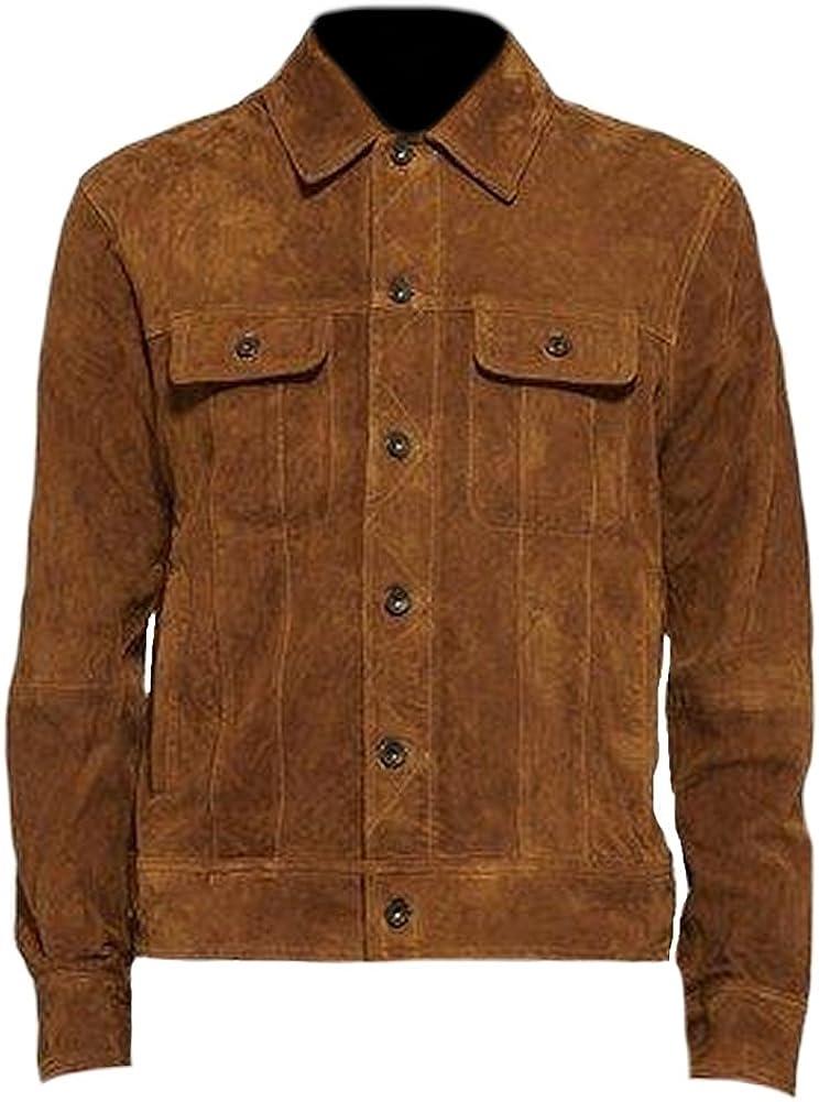 Classyak Men's Fashion Suede Brown Leather Jacket
