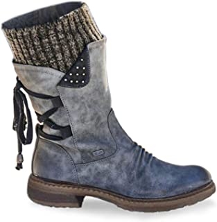Womens Mid Boots Side Low Heel Winter Snow Boots Zipper Martin Boots