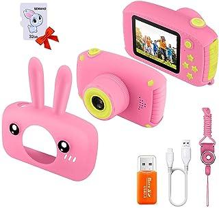 كاميرا سيمانو للأطفال، كاميرا رقمية 2 بوصة للأطفال مع تسجيل فيديو عالي الدقة 1080 بكسل وتصميم قصير مضاد للإسقاط تدعم ألعاب...