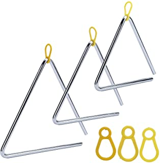 Instrumento triangular, 3 piezas de mano triangular musical, 6 pulgadas, 7 pulgadas, 8 pulgadas, para jugar y entrenar