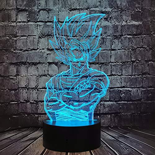Lampe illusion 3D Dragon Ball Z Kakarot Veilleuse de chevet LED Acrylique Multicolore Lampe de table Son Goku Télécommande Lampe d'étude pour enfant souvenir de Noël d'amis fans (Dragon Ball)
