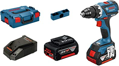 Bosch Professional 06019E8101 Atornillador GSR EC (2X 4,0 Ah Baterías, 18 V, Máximum de los Tornillos: 10 mm, en L-BOXX), Negro, Azul