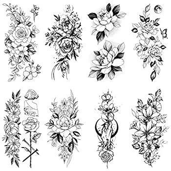 8 Sheets Flowers Temporary Tattoos for Women Adults Black Fake Flower Tattoos Stickers Realistic Waterproof Body Art Sticker Large Sexy Arm Shoulder Back Floral Leaf Legs Forearm Tatoos Paper