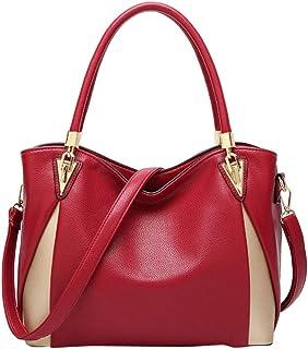 FENICAL Tote Purse Women Leather Shoulder Bag Waterproof Top-handle Handbag with Strap for Women Ladies - Claret