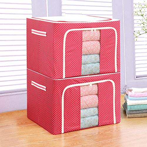 Steel Frame Storage Box Oxford Cloth Storage Box Folding Transparent Water Laundry Storage Box-Red Dot_50*40 * 36