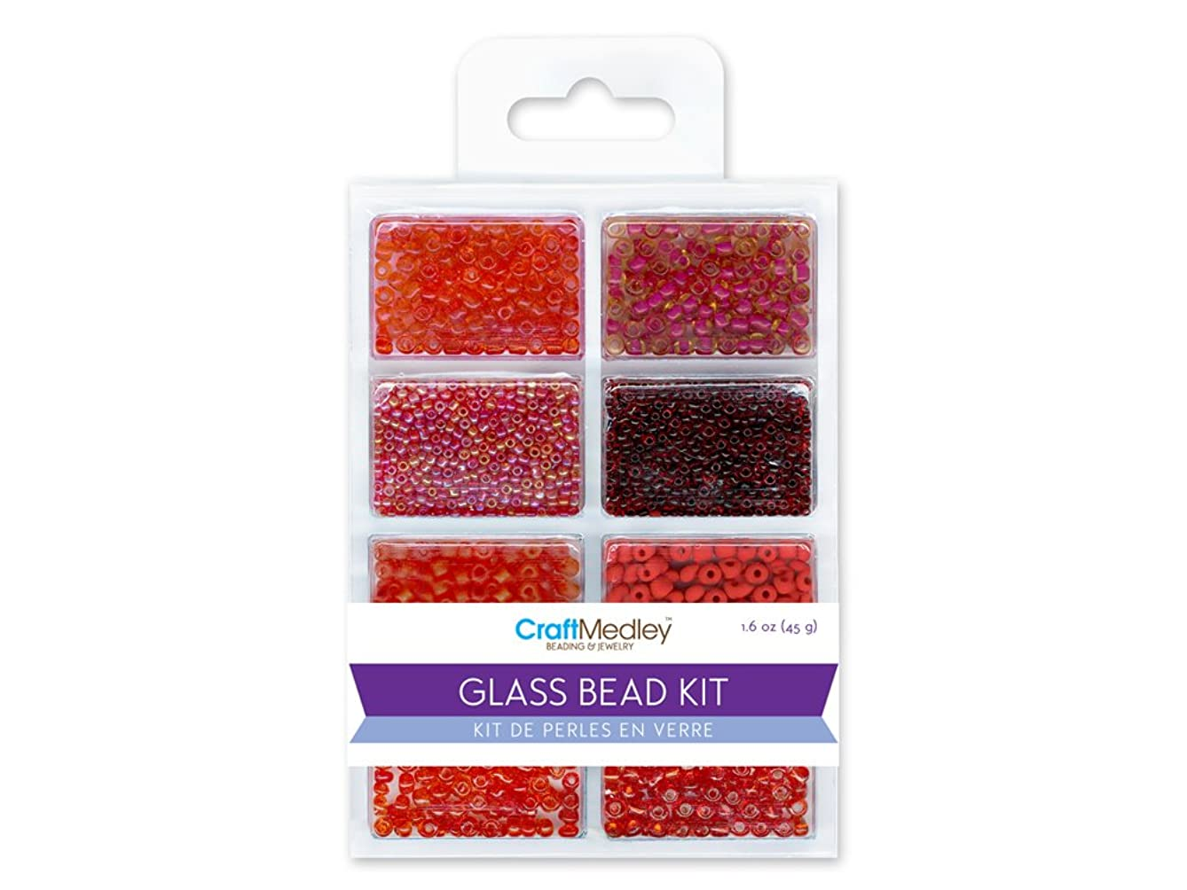 CraftMedley Glass Bead Kit, 45g, Rocailles/Seed/Bugles, Rouge