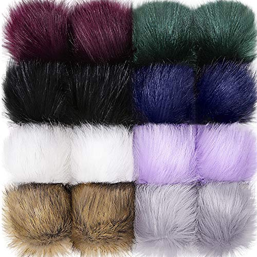16 Pieces Faux Fur Pom Pom Ball DIY Fur Pom Poms for Hats Shoes Scarves Bag Pompoms Keychain Charms Knitting Hat Accessories (Black, Gray, White, Natural, Dark Green, Purple)