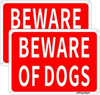 Joffreg Beware of Dog Sign,Dog Waring Sign,UV Protected and Weatherproof,Indoor Or Outdoor Use,20 x 30 cm,Reflective Alumi...