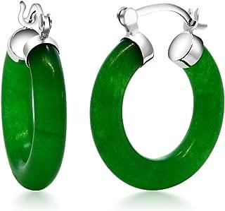 Vibrant Green 925 Sterling Silver Solid Jade Hoop Earrings 0.5 Inch