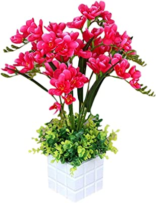 Maylife Artificial Flowers Freesia Creative Bonsai Plants Simulation Green Suitable for Window Restaurant Living Room Office