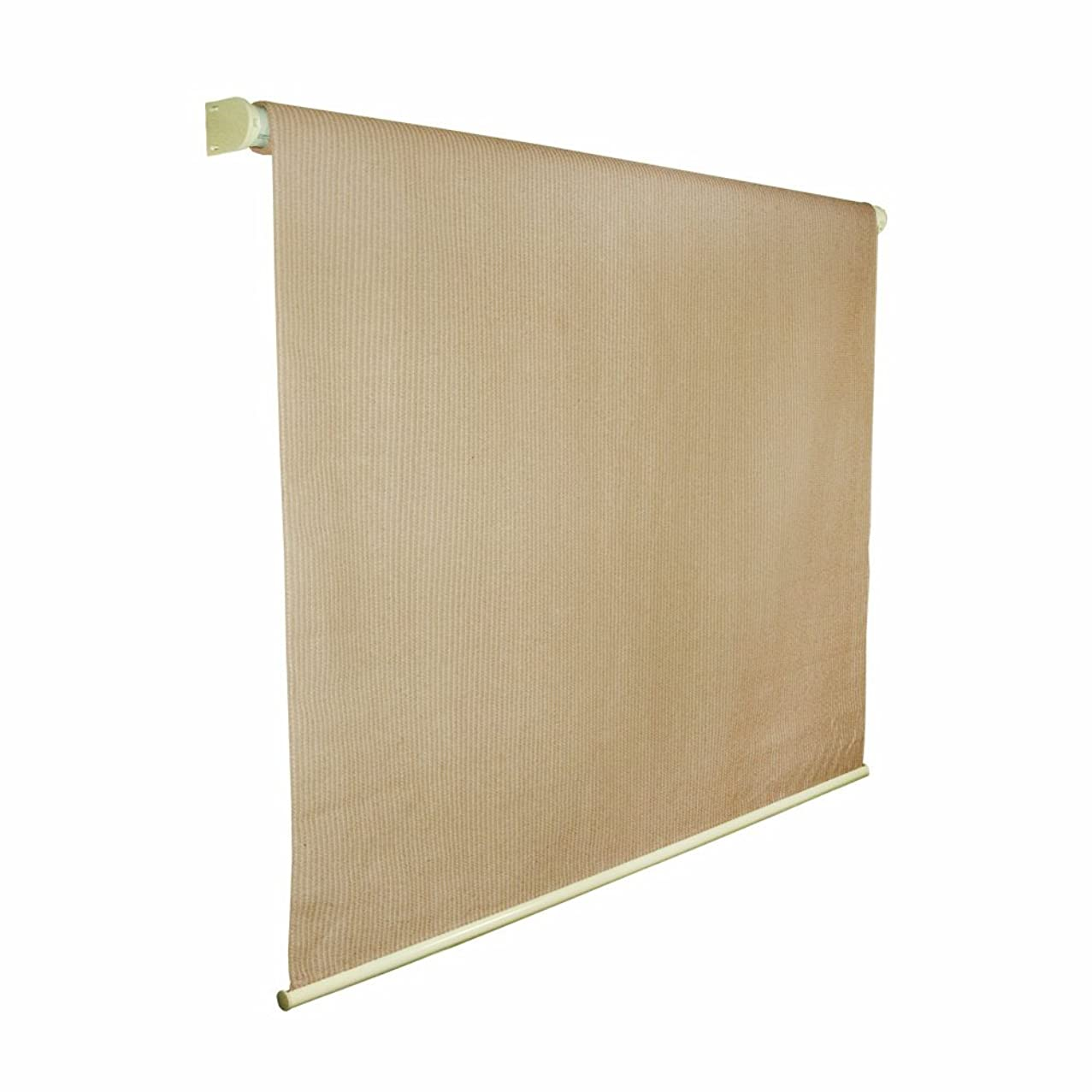 Coolaroo Exterior Roller Shade, Cordless Roller Shade with 80% UV Protection, No Valance, (8' W X 6' L), Almond