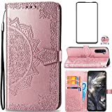 Asuwish Compatible with OnePlus Nord Wallet Case Tempered Glass Screen Protector Flip Cover Card Holder Stand Cell Accessories Phone Cases for One Plus On 1 Plus 1plus One+ 1+ 1+Nord Women Rosegold