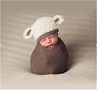 Fashion Cute Newborn Boy Girl Baby Costume Knitted Photography Props Lamb Hat Beige