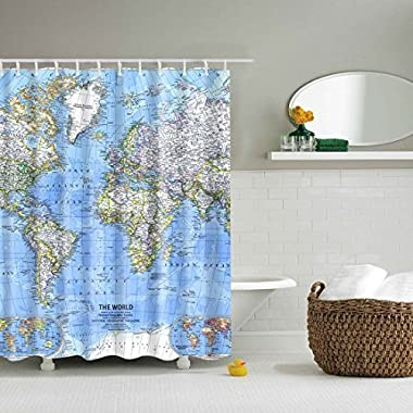 GWELL Shower Curtain Polyester Fabric Waterproof/Mildew-Resistant Antibacterial Bathroom Curtain Set with 12 Hooks, World Map 3D Digital Printing(70.86Inch X 70.86Inch)