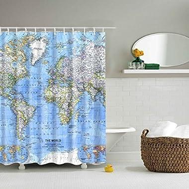 GWELL Shower Curtain Polyester Fabric Waterproof/Mildew-Resistant Antibacterial Bathroom Curtain Set W/12 Hooks,World Map 3D Digital Printing (70.86X70.86-Inch, 20)