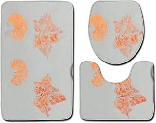 Asteria-Ashley 3pcs Bathroom Mat Leaf Pattern Bath Mat Non-Slip Bathroom Rug Soft Mat for Toilet Bath Rugs Absorbent Bathroom Carpet Set,Leaf 05,Big Size