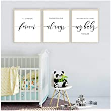 caomei I'll Love You Forever Canvas Posters Nursery Wall Art Print Painting Pictures for Baby Girl Boy Room Decor-40cmx60cmx3 pcs (no Frame)
