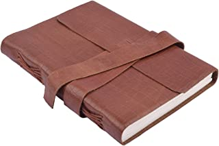 """Store Indya Classic Brown Leather Journal Travel Pocket Diary (7 x 5"""") Personal Organizer Mini Record Book Notebook Unlined 96 Handmade Papers"""