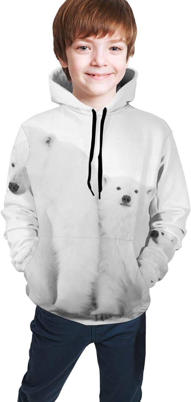 Boys Girls Long Sleeves Hoodies Polar She-Bear with Cubs Hooded Sweatshirt,Teen Tops