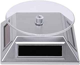 Easyinsmile 360°Rotating Turntable Jewelry Display Stand Solar or AA Battery(Not Included) Powered Display for Jewelry Watch Phone (Silver)