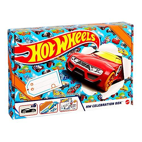 Hot Wheels GWN96 - Celebration Box Vollständiges Starterset mit 6Fahrzeugen, Tracks und Rampen