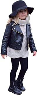 YOUNGER STAR Toddler Baby Boy Girl Motorcycle Faux Leather Jackets Coat Winter Outwear for 1-5Y